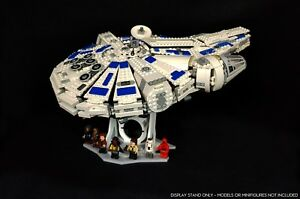 Display stand angled for Lego 75212-75105 Millennium Falcon (white-grey-20°)