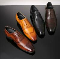 Mens Brogue Wing Tip Retro Carved Formal Business Pointy Toe Faux Leather Shoes