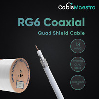 500FT RG6 Bulk Coaxial Cable 18AWG Dual Shield Wire Satellite TV White Coax