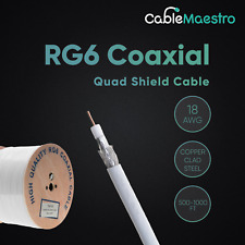1000Ft Rg6 Bulk Coaxial Cable 18Awg Dual Shield Wire Satellite Tv White Coax