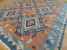 5x7, 6x8  Kilim Reversible Wool Area Rug Geometric Orange Red Blue Tribal