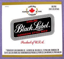 G Heileman Brg Co CARLING BLACK LABEL CANADIAN STYLE BEER beer label WI 16oz