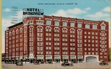 VTG Hotel Broadview Street View Old Cars in Wichita Kansas KS Postcard