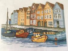 "Seaside Cross Stitch Kit  Permin Scandi Needlework 28 x 20cm 11"" x 8"" Boats"