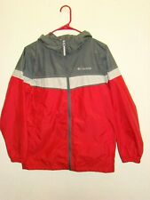Columbia Youth Boys 14-16 Nylon Windbreaker Jacket Hooded Zip Scarlet Red Gray
