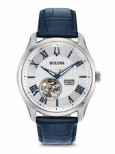 Bulova Men's Silver Dial Blue Leather Strap Automatic Watch 96A206
