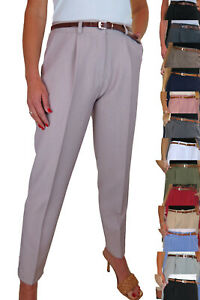 Ladies Smart Soft City Front Pleated Trousers Tapered Leg Size 8-22