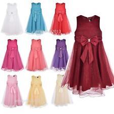 Girls Wedding Dress Bridesmaid Baby Shiny Kids Party Rose Bow Dresses Princess