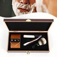 440C Steel Cut Throat Antique Straight Razor Shaving Brush Strop Wooden Box