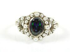 .50ct Mystic Topaz & Seed Pearl Victorian Art Deco Sterling Filigree Ring 104b