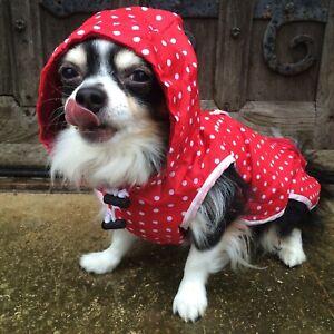 SALE Was £8.99 Now £3.99 !! Pet Red Spotty Rain Coat Size Medium