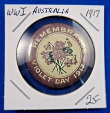 Original Vintage Wwi Ww1 Australia Remembrance Violet Day 1917 Pin Button