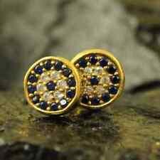Handmade Hammered Designer Zircon Evil Eye Stud Earring GoldOver Sterling Silver