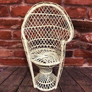 "Vintage Wicker Peacock Fan Back Rattan Chair Doll Plant Stand Boho Decor 16"""
