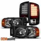 For 2002-2005 Dodge Ram 150025003500 Black Headlightsled Tail Brake Lamp Pair