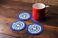 4 X Handmade Crochet Round Coasters Blue White Stripes Vintage Chic Doily