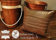 """1X EXCLUSIVE LUXURY GENUINE LEATHER CUSHION DISTRESSED BROWN PADDED LINE 18""""x18"""""""