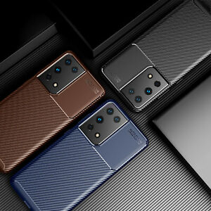 For Samsung Galaxy S21 /Plus /Ultra, Luxury Shockproof Carbon Fiber Case Cover