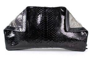 SALVATORE FERRAGAMO $3,600 Black Python Skin & Chainmail XL Clutch Bag