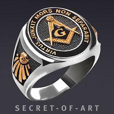 Masonic Ring Freemason Silver 925 All seeing eye Mason Virtus 24K-Gold-Plated