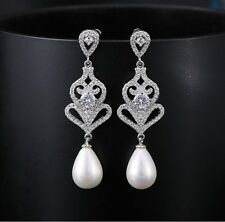 Vintage Wedding Bridal Swarovski Silver Pearl Drop Chandelier Long Earrings NEW