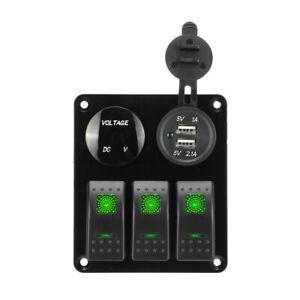 3 Gang 12V LED Rocker Switch Control Panel Car Boat Marine 2 USB Charger Ki