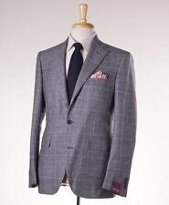 NWT $2795 SARTORIA PARTENOPEA Slate Blue Plaid Wool Sport Coat 40 R (Eu 50)
