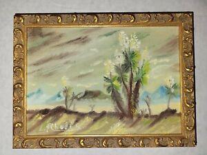 Vintage Desert Scene Painting Signed L Rhodes