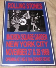 THE ROLLING STONES 1969 MADISON SQUARE GD  REPLICA POSTER W/PROTECTIVE SLEEVE