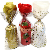 12 Christmas Cellophane Cello Party / Food / Cookie / Gift Bags With Twist Ties