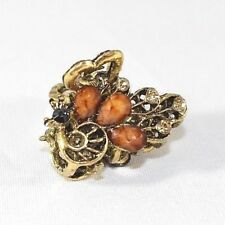 Brand New Gold Tone Vintage Peacock Hair Clip Claw w/Deep Brown Crystals