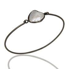 Fresh Water Pearl Birthstone Jewelry Black Rhodium 925 Sterling Silver Bangle