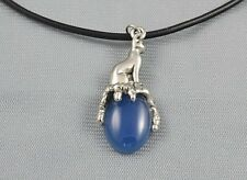 Egyptian Bast Bastet Cat Goddess on Light Blue Onyx Gemstone  Pendant 1-5/8""