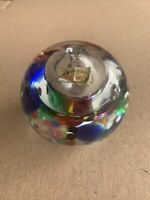 Marian Pyrcak Signed Round Glass paperweight Green Blue Red Yellow Black Vessel
