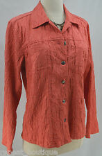 Chicos Jacket light coat button embrossed coral cotton 3-D bouncle top Chico 1 S