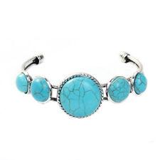 Blue Imitation Turquoise Open Cuff Bracelet Silver Tone Southwestern Bangle Gift