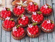 DOLLHOUSE MINIATURES 10 MINI STRAWBERRY FRUIT TART CAKE BAKERY FOOD DECO SS09