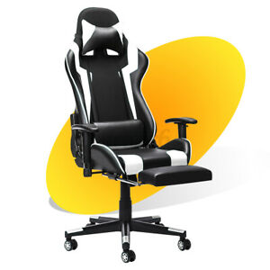 Executive Office Chair Gaming Chair Computer Desk Seat 180° Recliner W/ Footrest