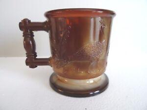 Boyd Art Glass Chocolate Slag PEACOCK & STORK MUG