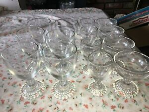14 VTG Anchor Hocking BOOPIE BUBBLE Foot Base Clear Wine Champagne Glass Goblet