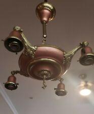 Restored 1920's Antique Vintage Chandelier Brass 4 Light Pan! Beautiful 😍
