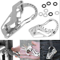 Durable EDC Hard Stainless Key Holder Organizer Clip Folder Keychain Pocket Tool