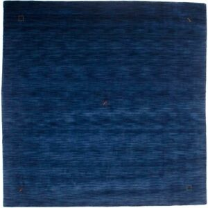 Oriental Modern Square Rug 8X8 Solid Navy Home Decor Kids Hand-Loomed Carpet