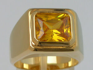 11 X 9 mm November Yellow Topaz CZ Birthstone Men's Solitaire Ring Size 12