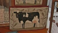 "PRIMITIVE RUG HOOKING KIT ON LINEN ~ ""FARM FRIENDS COW"""