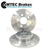 BMW E34 Drilled Grooved Brake Discs Solid Front 518 520