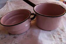 Vintage Rare Pink & Black Enamel Ware Double Boiler Pot w/o Lid