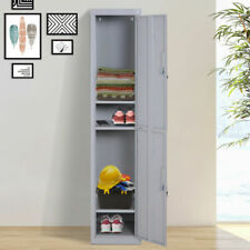 Steel Office Locker 1.8M Slim Lockable Tall Cabinet Storage Shelves Gym School