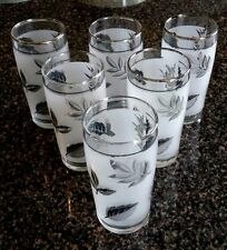 6 pieces Elegant looking Glasses small white black leaves frosted design