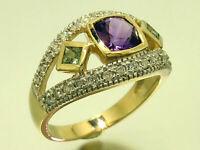 R214 Genuine 9K Gold Natural Amethyst Peridot & Diamond Suffragette Ring yr size